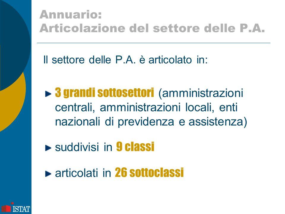 Annuario: Articolazione del settore delle P.A. Il settore delle P.A. è articolato in: 3 grandi sottosettori (amministrazioni centrali, amministrazioni