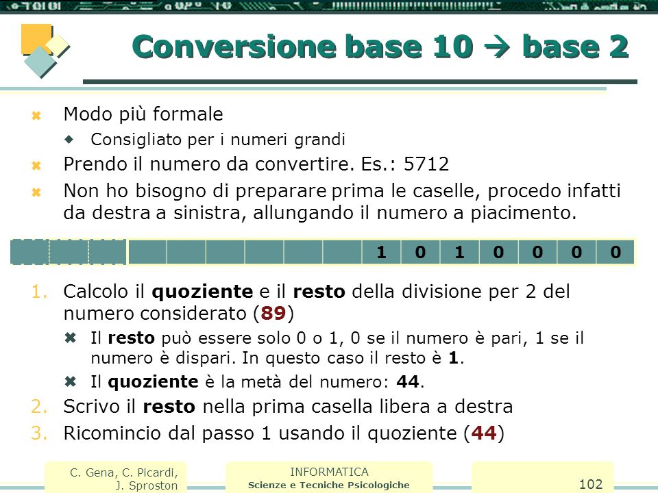 INFORMATICA Scienze e Tecniche Psicologiche C. Gena, C. Picardi, J. Sproston 102  Modo più formale  Consigliato per i numeri grandi  Prendo il nume