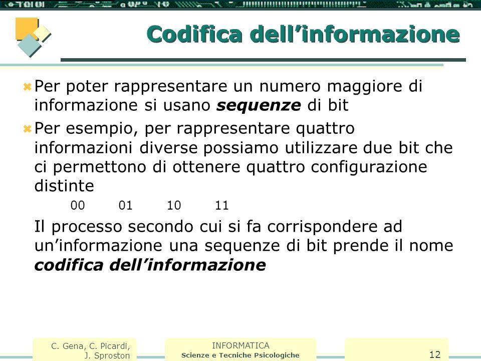 INFORMATICA Scienze e Tecniche Psicologiche C. Gena, C. Picardi, J. Sproston 12 Codifica dell'informazione  Per poter rappresentare un numero maggior