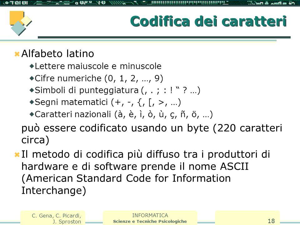INFORMATICA Scienze e Tecniche Psicologiche C. Gena, C. Picardi, J. Sproston 18 Codifica dei caratteri  Alfabeto latino  Lettere maiuscole e minusco