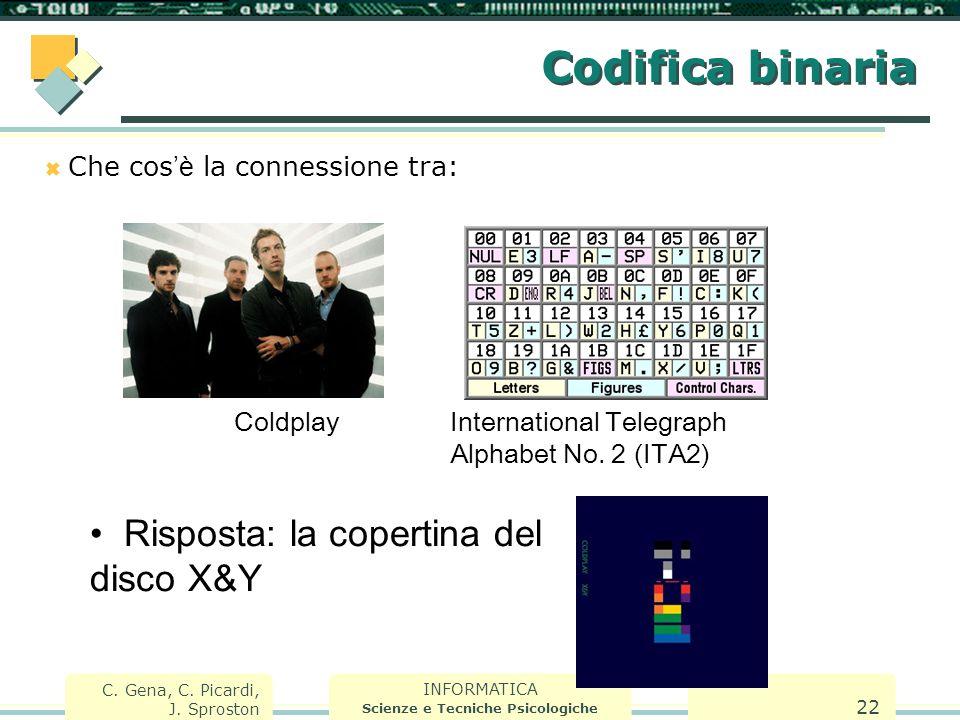INFORMATICA Scienze e Tecniche Psicologiche C. Gena, C. Picardi, J. Sproston 22 Codifica binaria  Che cos 'è la connessione tra: ColdplayInternationa