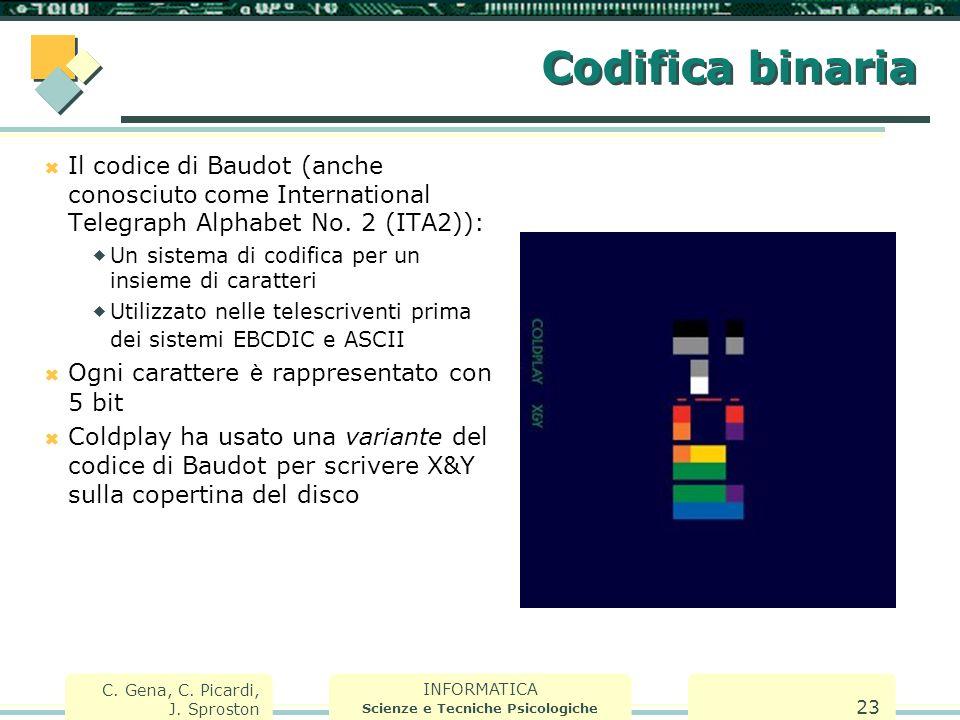 INFORMATICA Scienze e Tecniche Psicologiche C. Gena, C. Picardi, J. Sproston 23 Codifica binaria  Il codice di Baudot (anche conosciuto come Internat