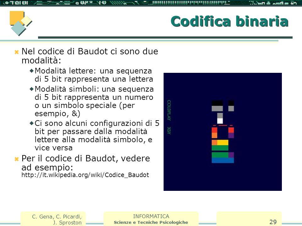 INFORMATICA Scienze e Tecniche Psicologiche C. Gena, C. Picardi, J. Sproston 29 Codifica binaria  Nel codice di Baudot ci sono due modalità:  Modali