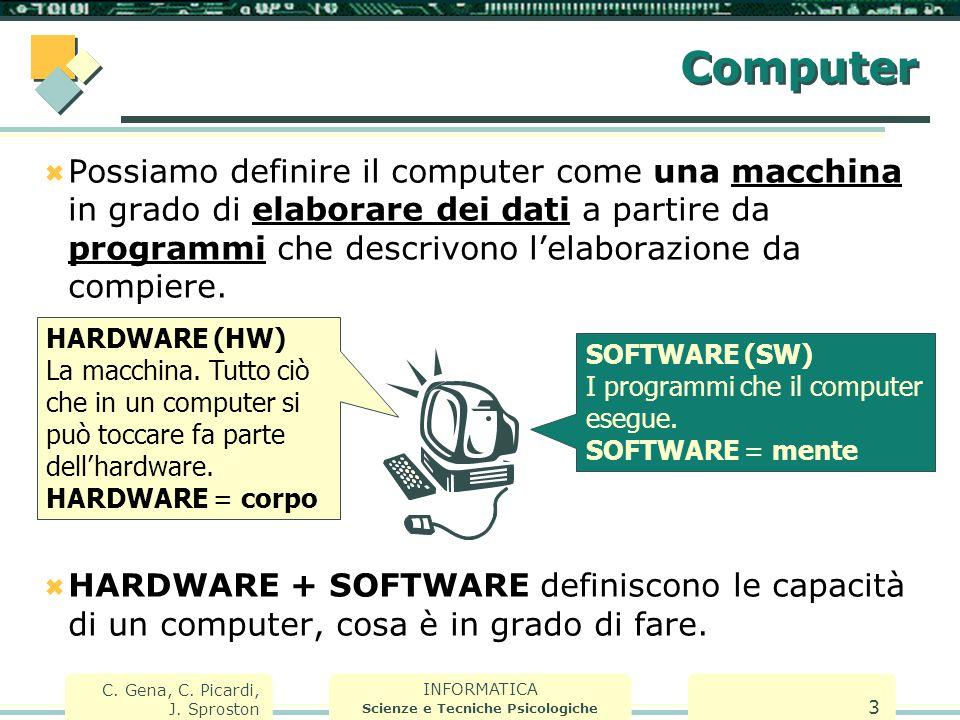 INFORMATICA Scienze e Tecniche Psicologiche C. Gena, C. Picardi, J. Sproston 3 Computer  Possiamo definire il computer come una macchina in grado di