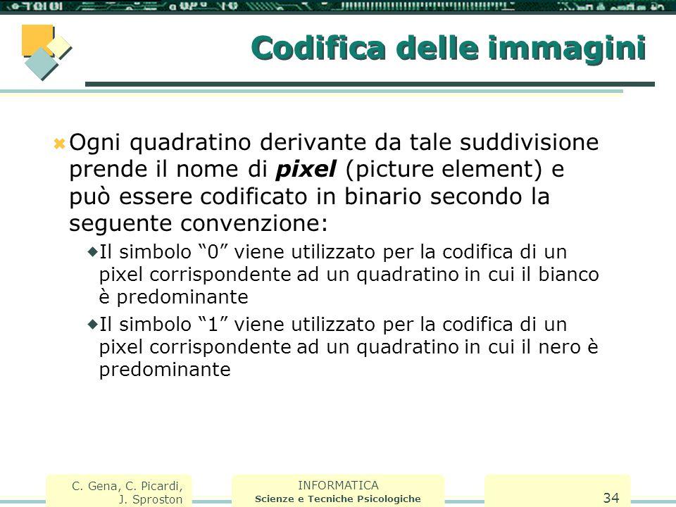 INFORMATICA Scienze e Tecniche Psicologiche C. Gena, C. Picardi, J. Sproston 34 Codifica delle immagini  Ogni quadratino derivante da tale suddivisio