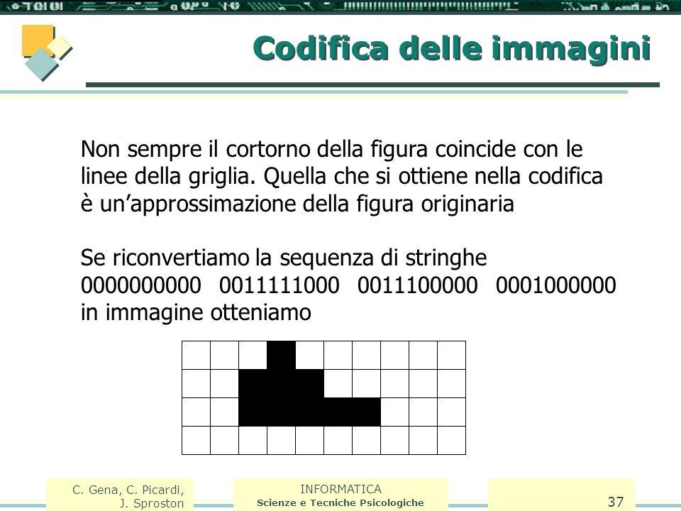 INFORMATICA Scienze e Tecniche Psicologiche C. Gena, C. Picardi, J. Sproston 37 Codifica delle immagini Non sempre il cortorno della figura coincide c