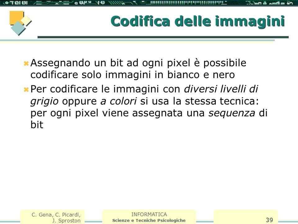 INFORMATICA Scienze e Tecniche Psicologiche C. Gena, C. Picardi, J. Sproston 39 Codifica delle immagini  Assegnando un bit ad ogni pixel è possibile