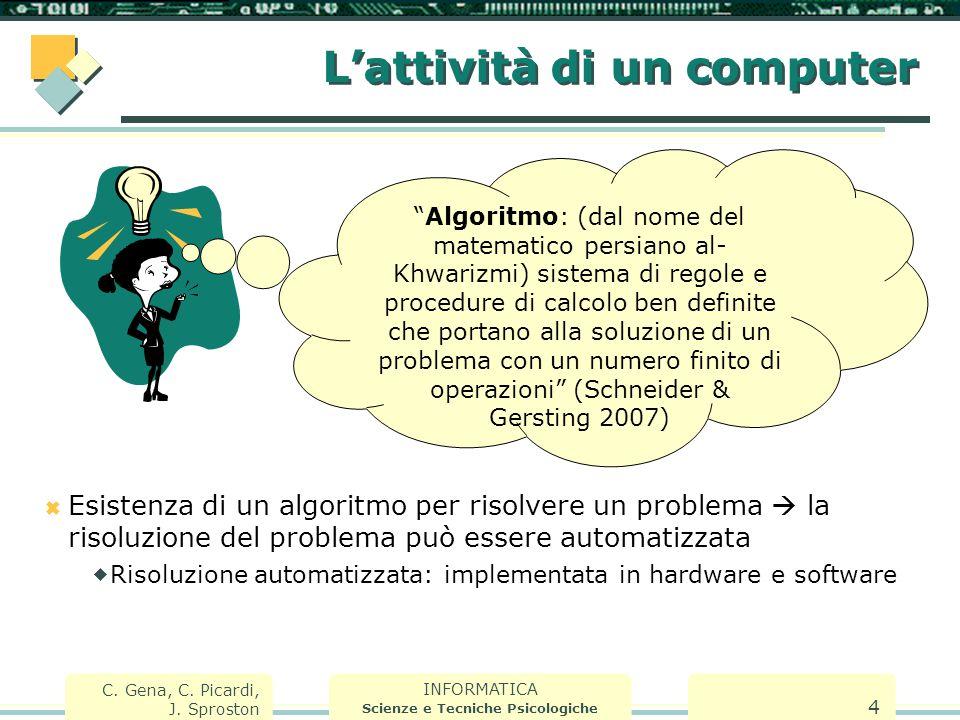 """INFORMATICA Scienze e Tecniche Psicologiche C. Gena, C. Picardi, J. Sproston 4 L'attività di un computer """"Algoritmo: (dal nome del matematico persiano"""
