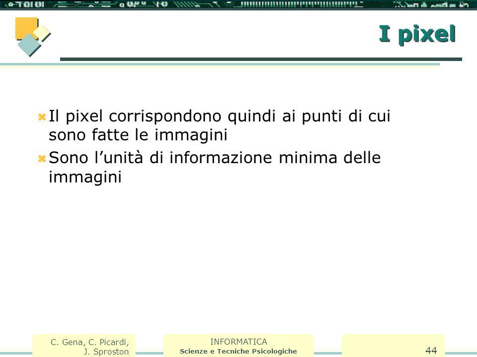 INFORMATICA Scienze e Tecniche Psicologiche C. Gena, C. Picardi, J. Sproston 44 I pixel  Il pixel corrispondono quindi ai punti di cui sono fatte le