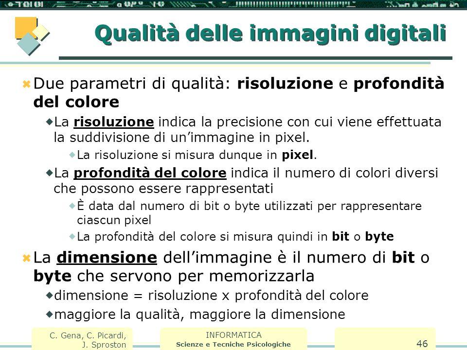 INFORMATICA Scienze e Tecniche Psicologiche C. Gena, C. Picardi, J. Sproston 46 Qualità delle immagini digitali  Due parametri di qualità: risoluzion