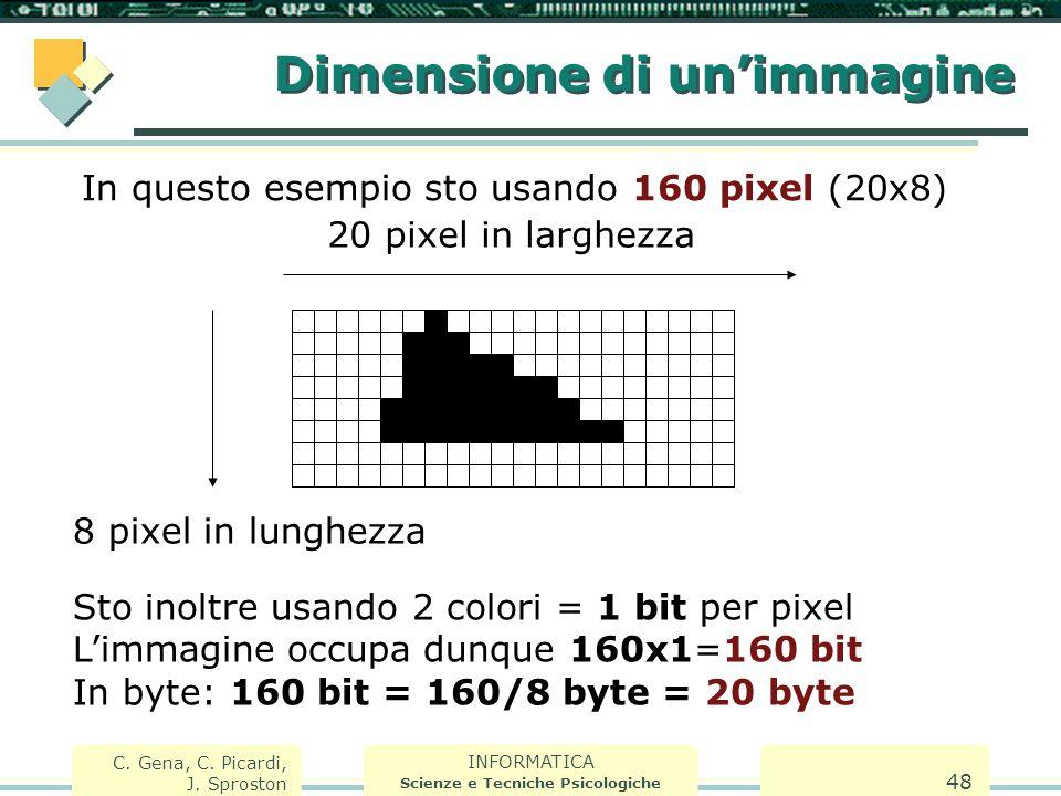 INFORMATICA Scienze e Tecniche Psicologiche C. Gena, C. Picardi, J. Sproston 48 Dimensione di un'immagine In questo esempio sto usando 160 pixel (20x8