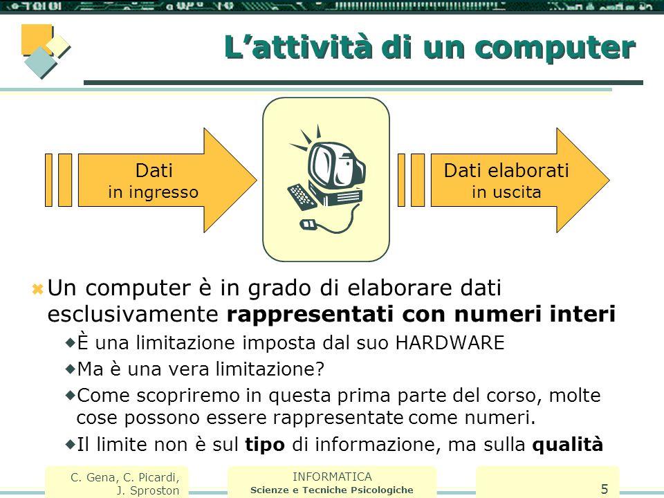 INFORMATICA Scienze e Tecniche Psicologiche C. Gena, C. Picardi, J. Sproston 5 L'attività di un computer  Un computer è in grado di elaborare dati es