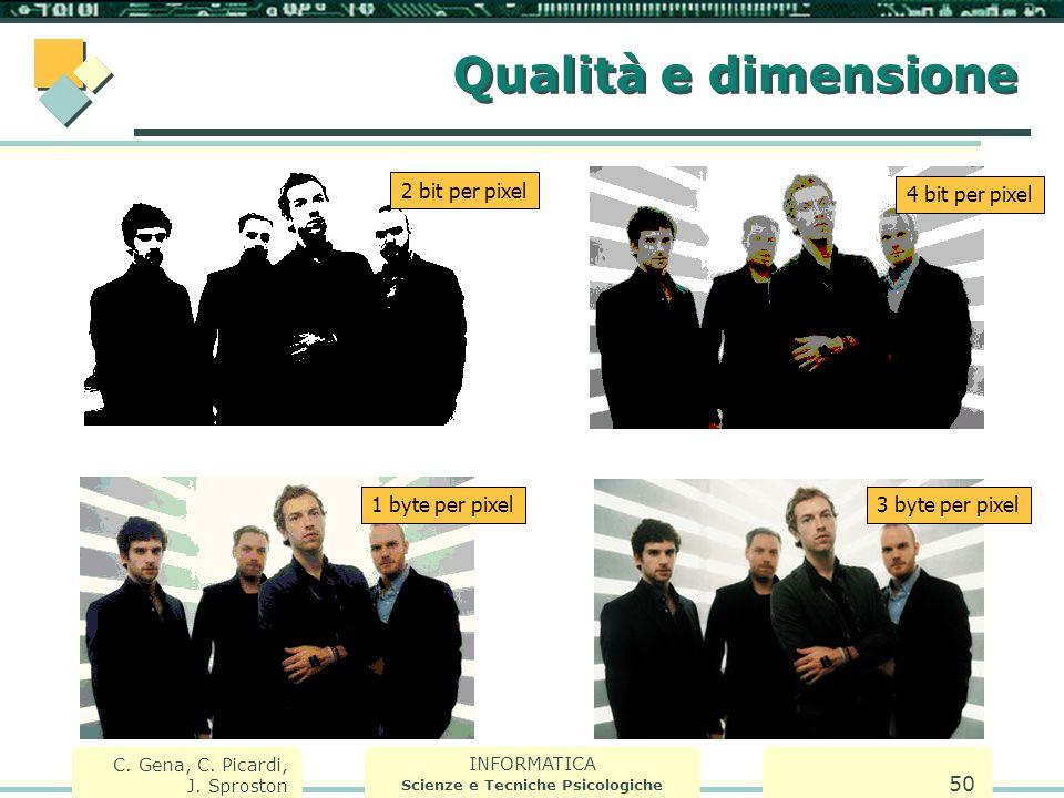 INFORMATICA Scienze e Tecniche Psicologiche C. Gena, C. Picardi, J. Sproston 50 Qualità e dimensione 2 bit per pixel 4 bit per pixel 1 byte per pixel3