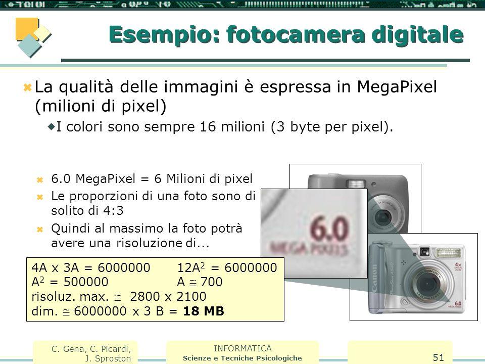 INFORMATICA Scienze e Tecniche Psicologiche C. Gena, C. Picardi, J. Sproston 51 Esempio: fotocamera digitale  La qualità delle immagini è espressa in