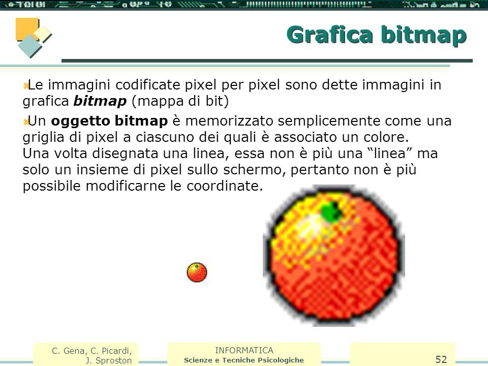 INFORMATICA Scienze e Tecniche Psicologiche C. Gena, C. Picardi, J. Sproston 52 Grafica bitmap  Le immagini codificate pixel per pixel sono dette imm
