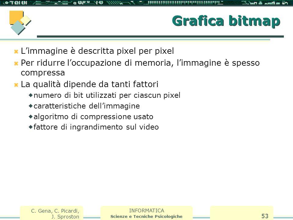 INFORMATICA Scienze e Tecniche Psicologiche C. Gena, C. Picardi, J. Sproston 53 Grafica bitmap  L'immagine è descritta pixel per pixel  Per ridurre