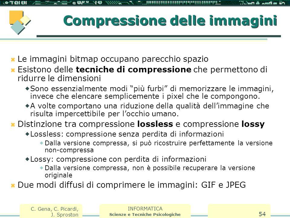 INFORMATICA Scienze e Tecniche Psicologiche C. Gena, C. Picardi, J. Sproston 54 Compressione delle immagini  Le immagini bitmap occupano parecchio sp