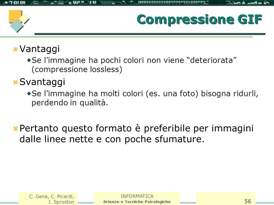 INFORMATICA Scienze e Tecniche Psicologiche C. Gena, C. Picardi, J. Sproston 56 Compressione GIF  Vantaggi  Se l'immagine ha pochi colori non viene