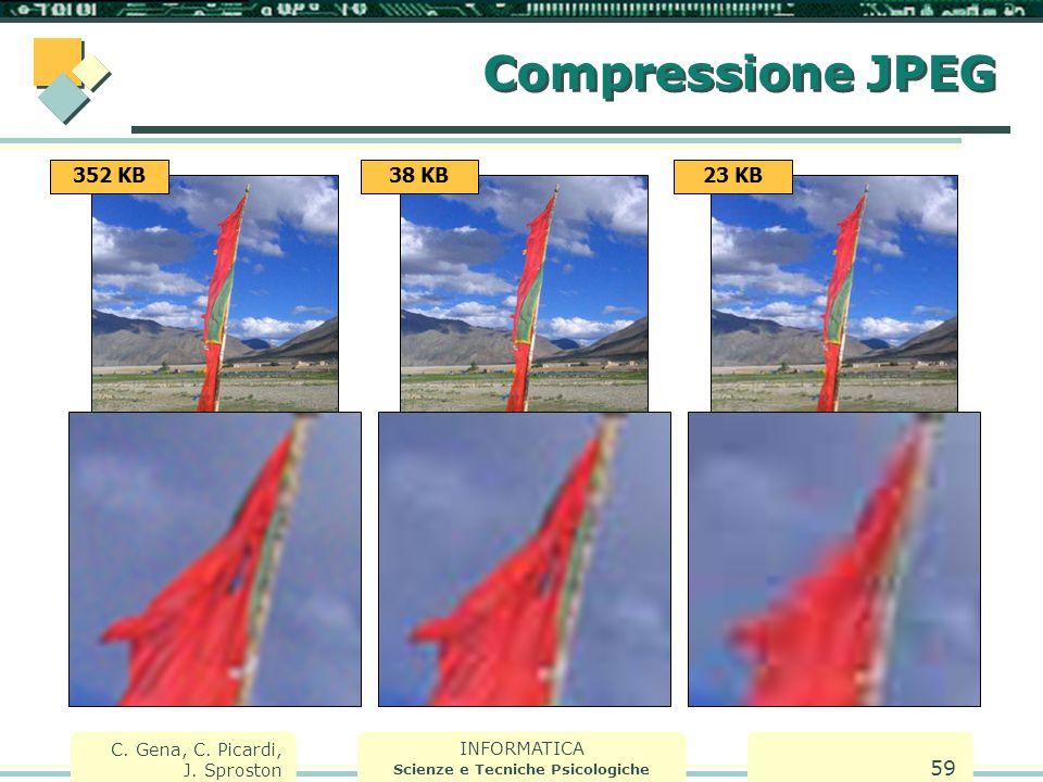 INFORMATICA Scienze e Tecniche Psicologiche C. Gena, C. Picardi, J. Sproston 59 Compressione JPEG 352 KB38 KB23 KB