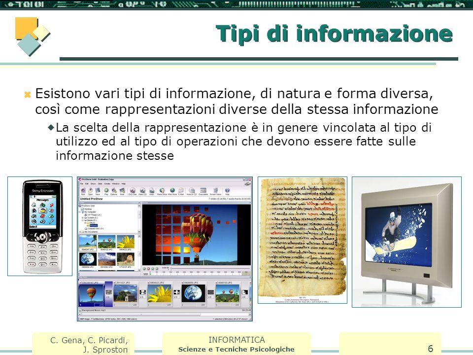 INFORMATICA Scienze e Tecniche Psicologiche C. Gena, C. Picardi, J. Sproston 6 Tipi di informazione  Esistono vari tipi di informazione, di natura e