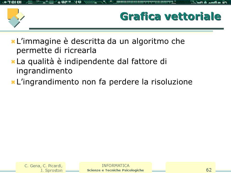 INFORMATICA Scienze e Tecniche Psicologiche C. Gena, C. Picardi, J. Sproston 62 Grafica vettoriale  L'immagine è descritta da un algoritmo che permet