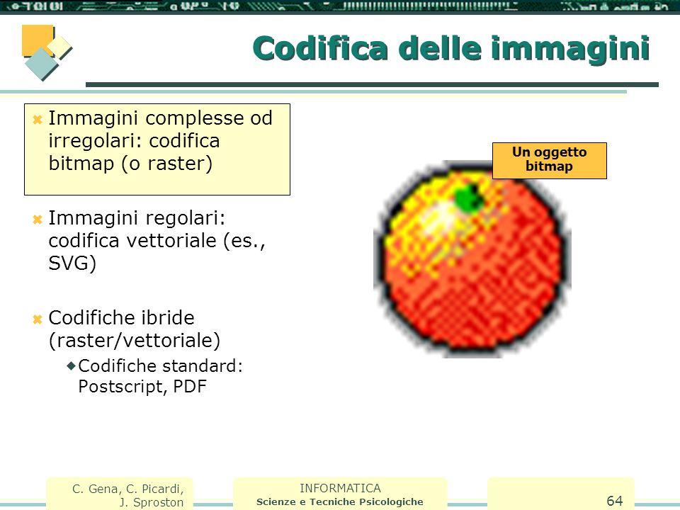 INFORMATICA Scienze e Tecniche Psicologiche C. Gena, C. Picardi, J. Sproston 64 Codifica delle immagini  Immagini complesse od irregolari: codifica b