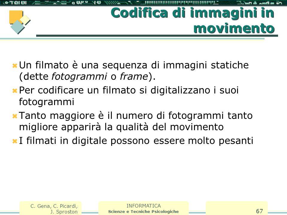 INFORMATICA Scienze e Tecniche Psicologiche C. Gena, C. Picardi, J. Sproston 67 Codifica di immagini in movimento  Un filmato è una sequenza di immag