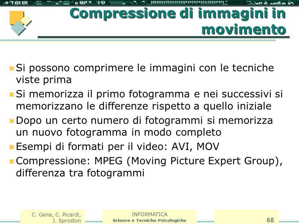 INFORMATICA Scienze e Tecniche Psicologiche C. Gena, C. Picardi, J. Sproston 68 Compressione di immagini in movimento  Si possono comprimere le immag