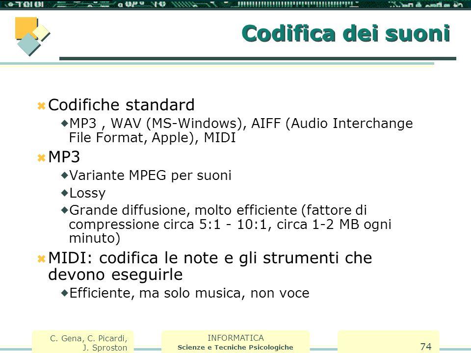 INFORMATICA Scienze e Tecniche Psicologiche C. Gena, C. Picardi, J. Sproston 74 Codifica dei suoni  Codifiche standard  MP3, WAV (MS-Windows), AIFF