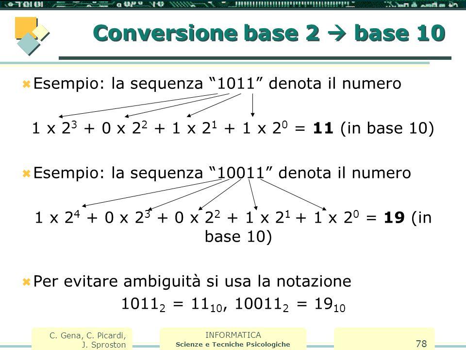 """INFORMATICA Scienze e Tecniche Psicologiche C. Gena, C. Picardi, J. Sproston 78 Conversione base 2  base 10  Esempio: la sequenza """"1011"""" denota il n"""