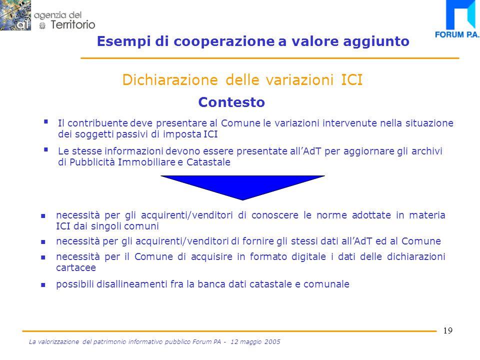 18 La valorizzazione del patrimonio informativo pubblico Forum PA - 12 maggio 2005 Dichiarazione delle variazioni ICI Progetto SIGMA TER Incrocio dati catastali e comunali per controlli TARSU Esempi di cooperazione a valore aggiunto