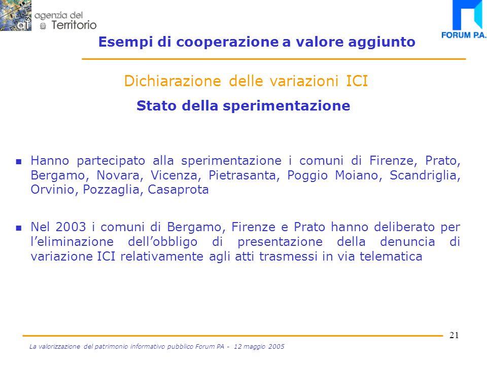 20 La valorizzazione del patrimonio informativo pubblico Forum PA - 12 maggio 2005 Pubblico Ufficiale Trasferimento di immobile Dichiarazione variazione ICI acquirente Dichiarazione venditore Comune Banca Dati Ici Data Entry .