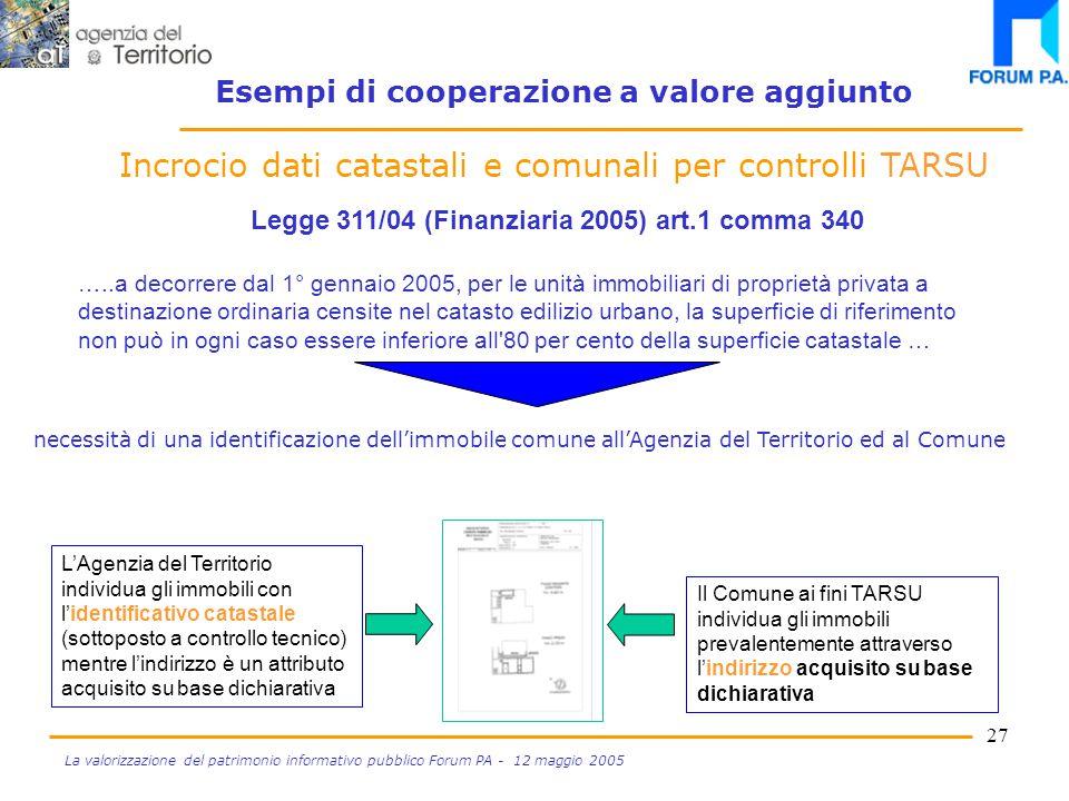26 La valorizzazione del patrimonio informativo pubblico Forum PA - 12 maggio 2005 Dichiarazione delle variazioni ICI Progetto SIGMA TER Incrocio dati catastali e comunali per controlli TARSU Esempi di cooperazione a valore aggiunto