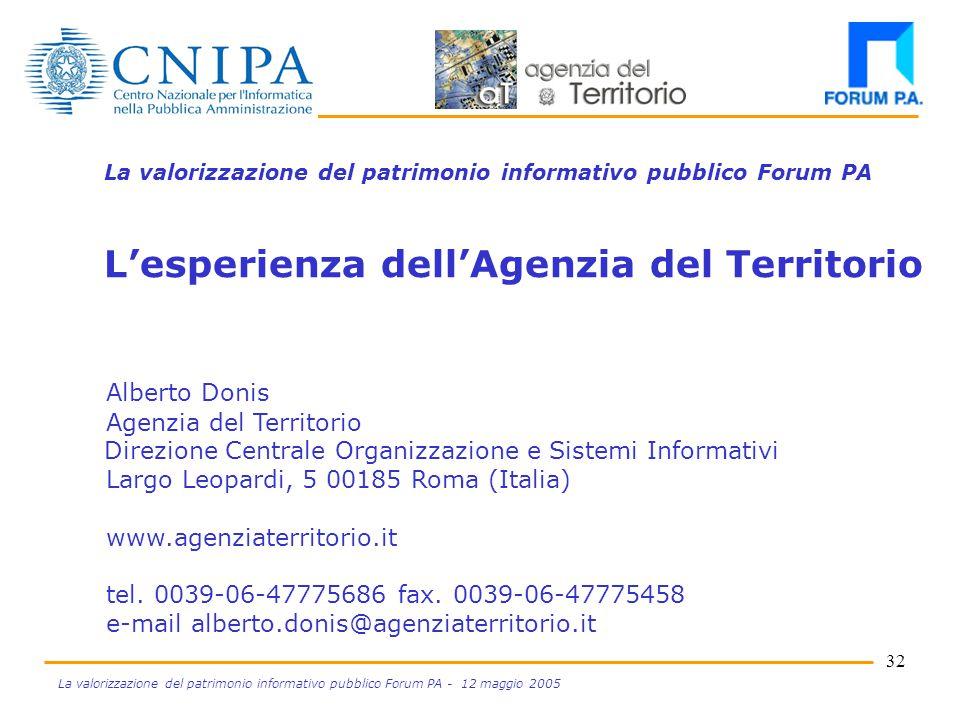 31 La valorizzazione del patrimonio informativo pubblico Forum PA - 12 maggio 2005 Valorizzazione commerciale Valore dell'integrazione elementari integrate informazioni Prezzo/valore Q 2 > Q 1 Q1Q1