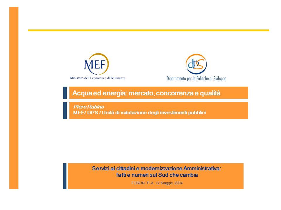 P Rubino, MEF/DPS/UVAL, Forum PA 2004, 12-05-04, Acqua ed energia: mercato, concorrenza e qualità 12 Fine dell'esposizione piero.rubino@tesoro.it Grazie per l'attenzione