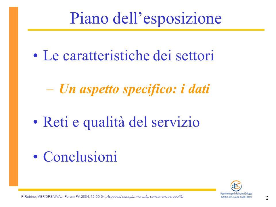 P Rubino, MEF/DPS/UVAL, Forum PA 2004, 12-05-04, Acqua ed energia: mercato, concorrenza e qualità 2 Piano dell'esposizione Le caratteristiche dei settori – Un aspetto specifico: i dati Reti e qualità del servizio Conclusioni
