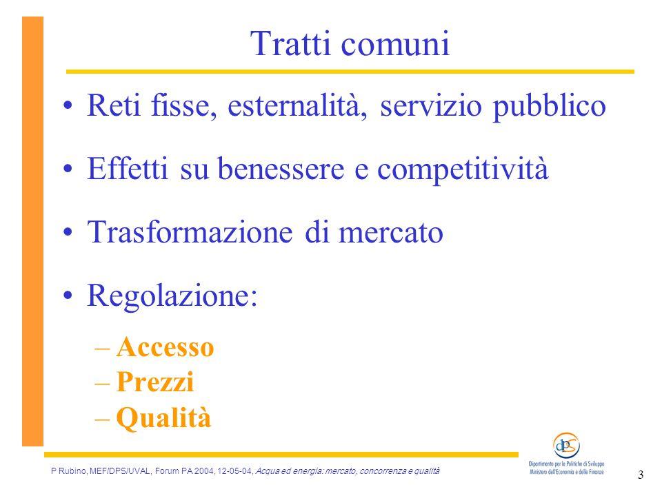 P Rubino, MEF/DPS/UVAL, Forum PA 2004, 12-05-04, Acqua ed energia: mercato, concorrenza e qualità 4 I settori a confronto ACQUAELETTRICITÀGAS APERTURA 199419982000 GRADO DI APERTURA modestointermediomedio-alto MERCATO ORGANIZZATO nosi (2004)informale REGOLAZIONE modello ibridoautorità indip.te PROGRESSO TECNICO lentorapidointermedio PREZZI: VS COSTI inferioriin linea PREZZI: VS.