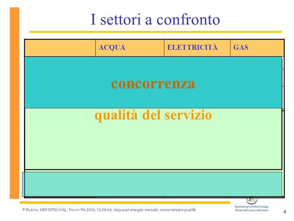 P Rubino, MEF/DPS/UVAL, Forum PA 2004, 12-05-04, Acqua ed energia: mercato, concorrenza e qualità 5 Un problema: la disponibilità di dati Gas Rifiuti Elettricità Acqua Disponibilità di dati Grado di liberalizzazione L'informazione è scarsa … … ma la situazione è in miglioramento