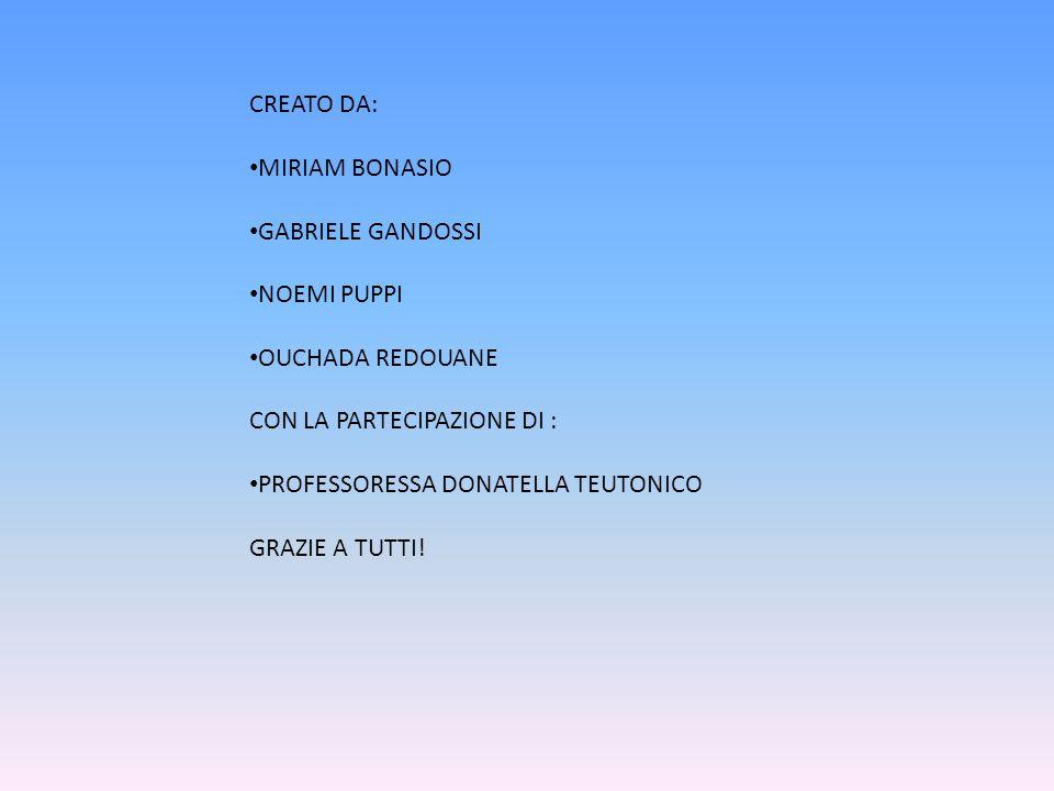 CREATO DA: MIRIAM BONASIO GABRIELE GANDOSSI NOEMI PUPPI OUCHADA REDOUANE CON LA PARTECIPAZIONE DI : PROFESSORESSA DONATELLA TEUTONICO GRAZIE A TUTTI!