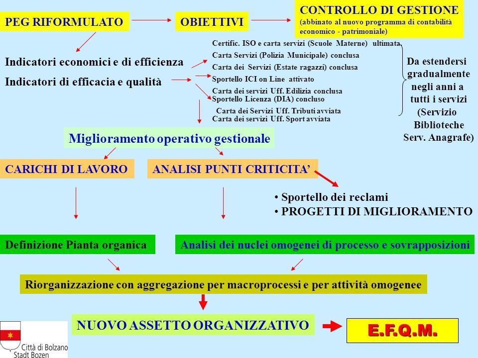 PEG RIFORMULATOOBIETTIVI Indicatori economici e di efficienza Indicatori di efficacia e qualità Certific.