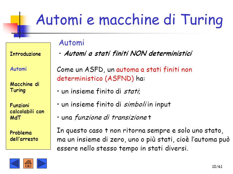 Automi e macchine di Turing Introduzione Automi Macchine di Turing Funzioni calcolabili con MdT Problema dell'arresto Automi Automi a stati finiti NON