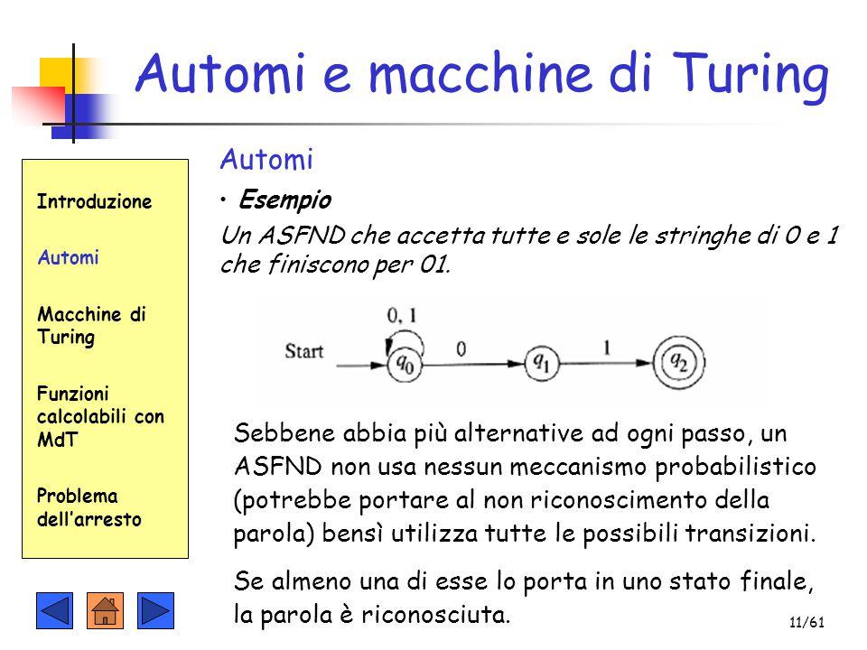 Automi e macchine di Turing Introduzione Automi Macchine di Turing Funzioni calcolabili con MdT Problema dell'arresto Automi Esempio Un ASFND che acce