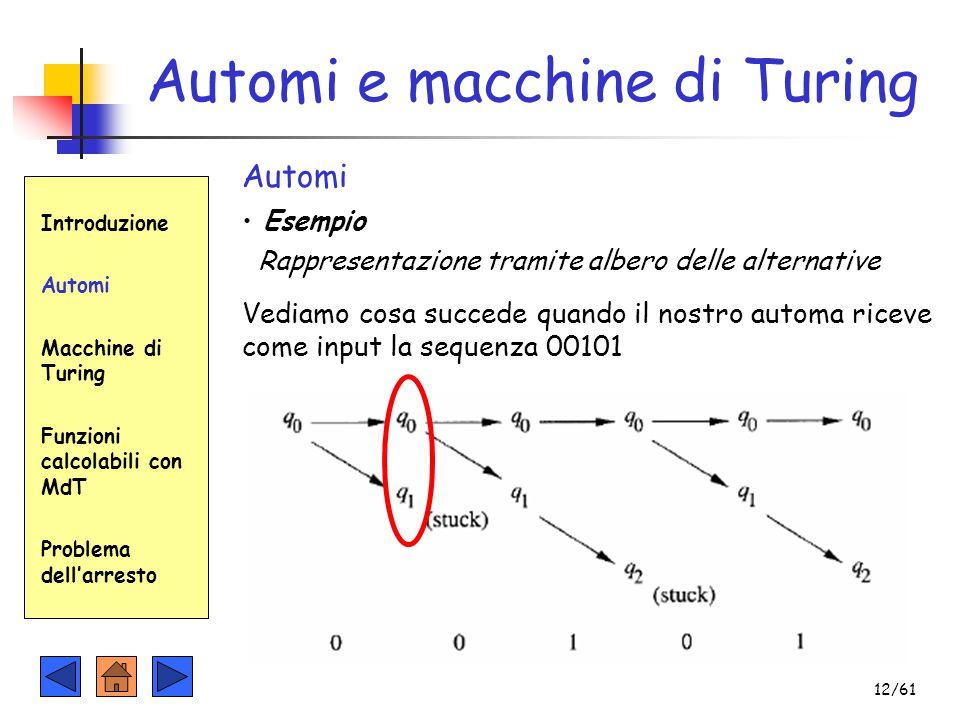 Automi e macchine di Turing Introduzione Automi Macchine di Turing Funzioni calcolabili con MdT Problema dell'arresto Automi Esempio Rappresentazione