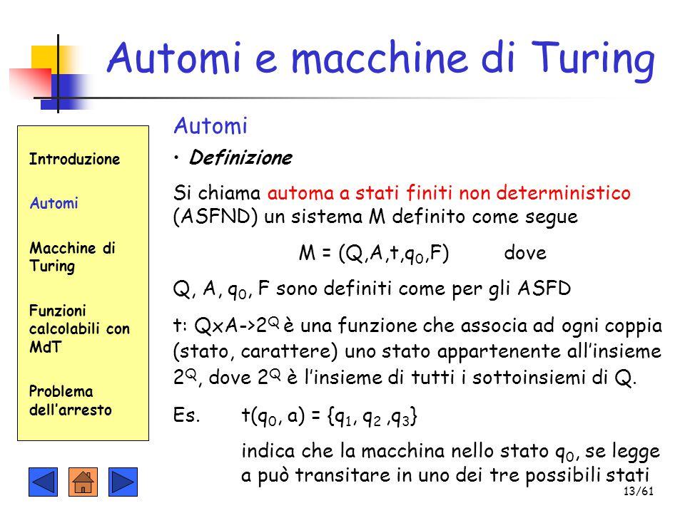 Definizione Introduzione Automi Macchine di Turing Funzioni calcolabili con MdT Problema dell'arresto Automi e macchine di Turing Automi Si chiama aut
