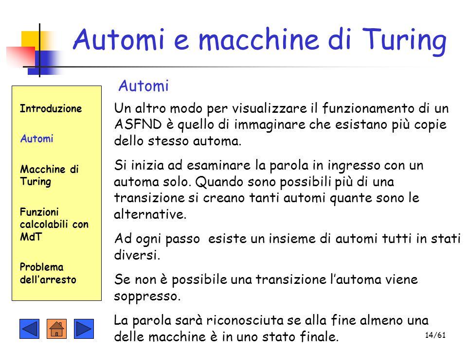 Introduzione Automi Macchine di Turing Funzioni calcolabili con MdT Problema dell'arresto Automi e macchine di Turing Automi Un altro modo per visuali