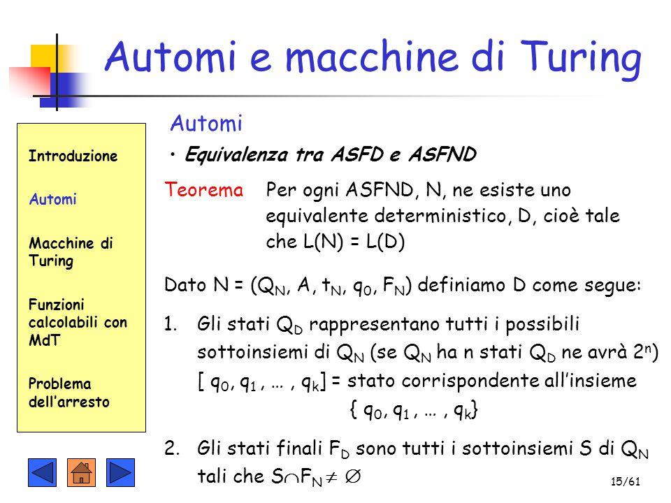 Automi e macchine di Turing Introduzione Automi Macchine di Turing Funzioni calcolabili con MdT Problema dell'arresto Automi Equivalenza tra ASFD e AS