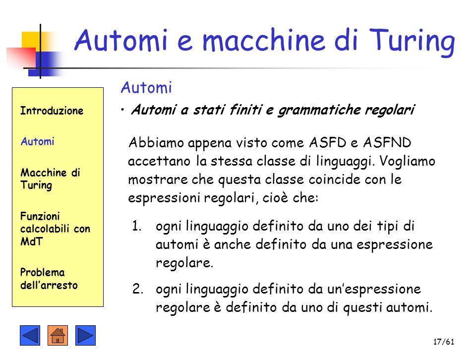Automi a stati finiti e grammatiche regolari Automi Automi e macchine di Turing Introduzione Automi Macchine di Turing Funzioni calcolabili con MdT Pr