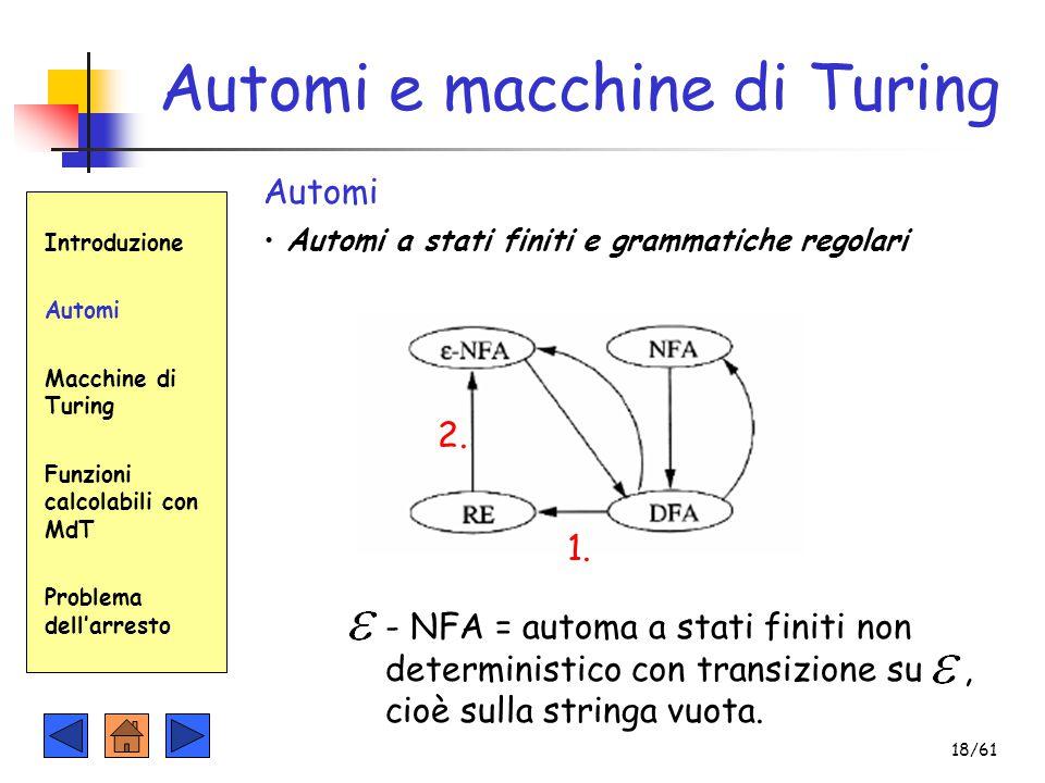 Automi e macchine di Turing Introduzione Automi Macchine di Turing Funzioni calcolabili con MdT Problema dell'arresto Automi Automi a stati finiti e g