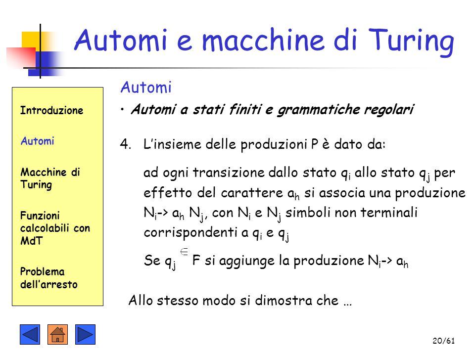 Introduzione Automi Macchine di Turing Funzioni calcolabili con MdT Problema dell'arresto Automi e macchine di Turing Automi Automi a stati finiti e g