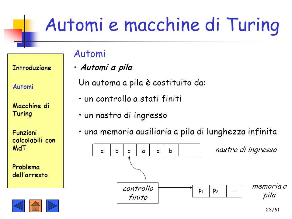 Automi e macchine di Turing Introduzione Automi Macchine di Turing Funzioni calcolabili con MdT Problema dell'arresto Automi Automi a pila Un automa a